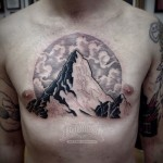 Chest Mountain Tattoo