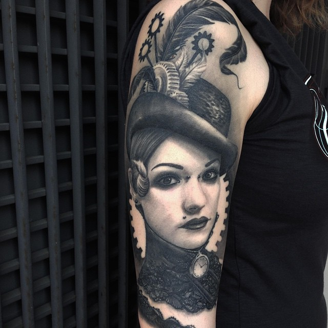 Cogwheel Girl tattoo on Shoulder