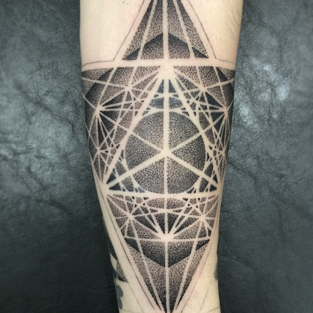 Cool 3D Geometry Tattoo on Arm
