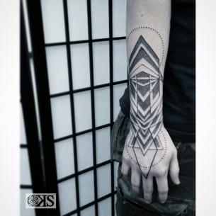 Cool Wrist Brace Geometry Tattoo