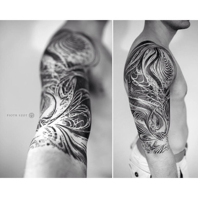 Curve Abstract Shoulder Tattoo Sleeve