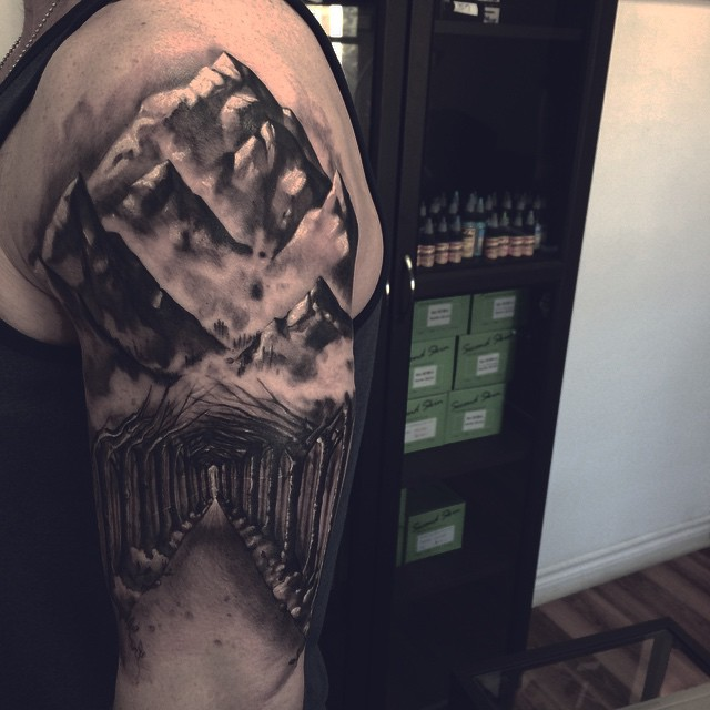 Dark Mountain Road Tattoo on Shoulder