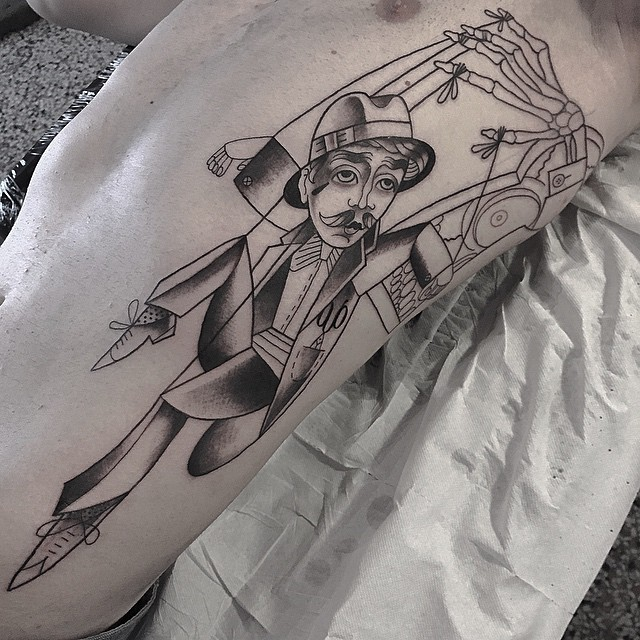 Death Puppet Tattoo on Side
