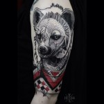 Dots and Lines Hyena tattoo
