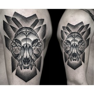 Dotwork Predator Skull Shoulder Tattoo