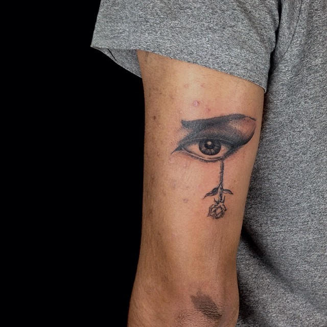 Eye Rose Tear Tattoo