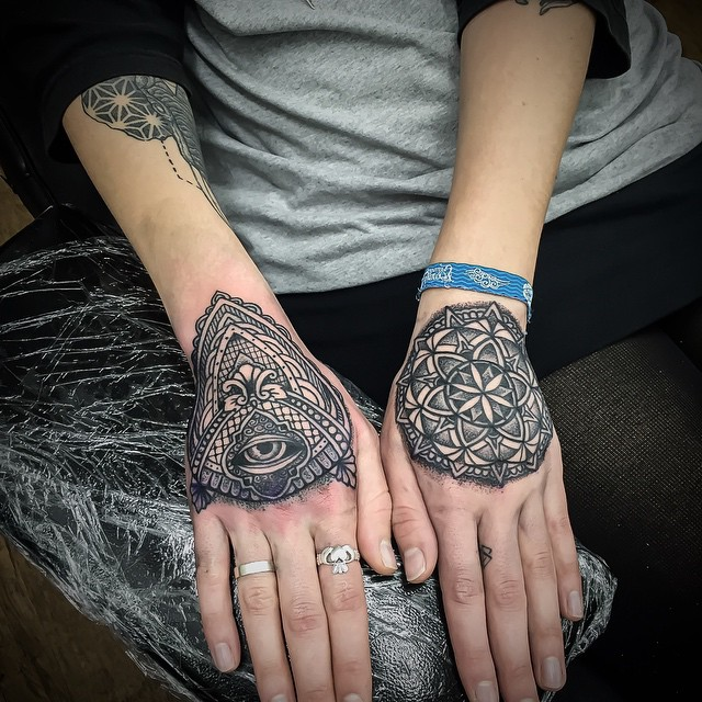 Eye and Mandala Mehendi Hand tattoos