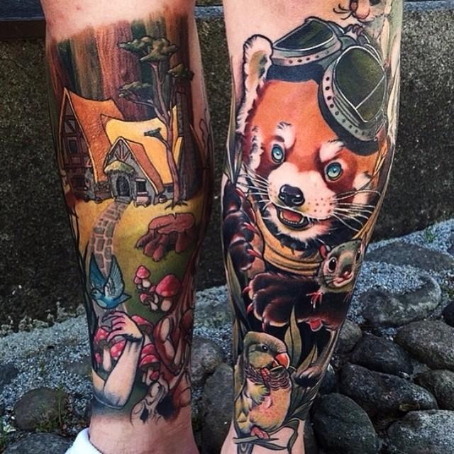Fairy Tale Animals Tattoos on Legs