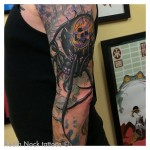 Fire Skull Spider Tattoo on Arm