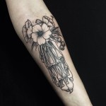 Flower Foot Bones Tattoo on Arm