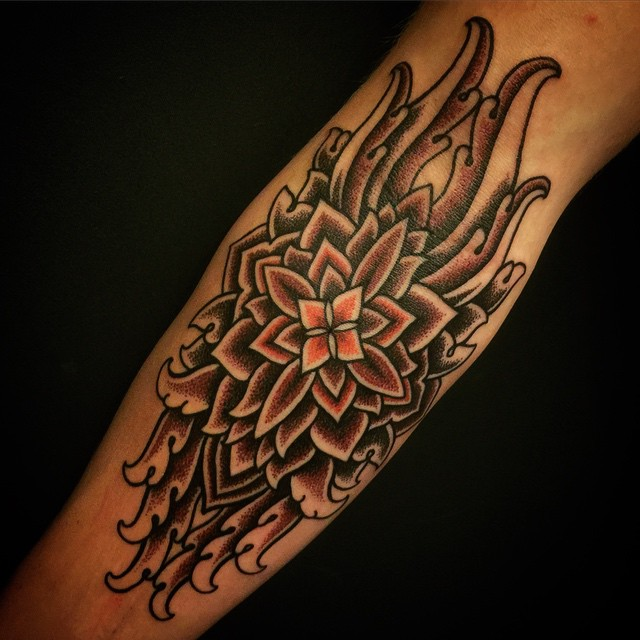 Freehand Mandala Tattoo on Arm