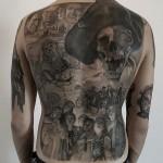 Full Back One Eyed Willie Tattoo