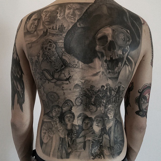 Full Back One Eyed Willie Tattoo