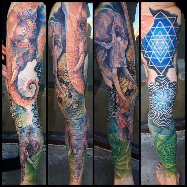 Full Leg Perfect World Order Tattoo