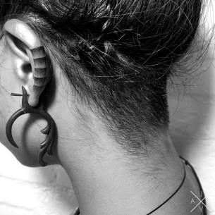 Gradient Dotwork Ear Tattoo