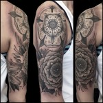 Graphic Beautiful Shoulder Flowers Tattoo