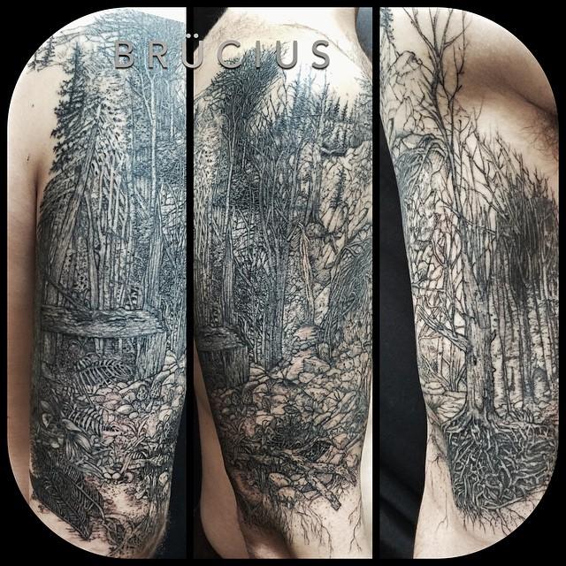 Graphic Dark Forest Shoulder Tattoo