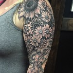 Graphic Flowers Feild Tattoo on Shoulder