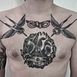 Graphic Heart Tool Box Chest Tattoo