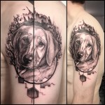 Graphic Pet Dog Tattoo on Shoulder