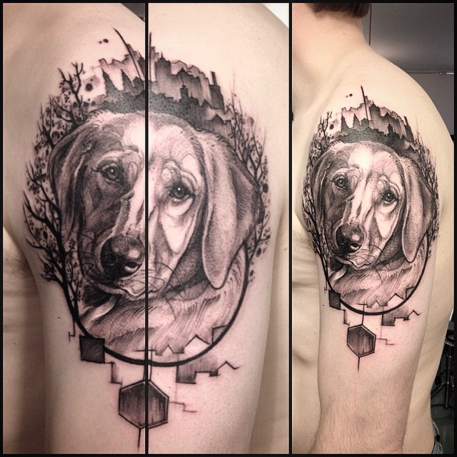Graphic Pet Dog Tattoo on Shoulder