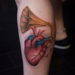Heart Music Love Tattoo on Leg