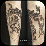 Heraldic Lion Tattoo on Arm