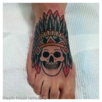 Indian Skull Foot Tattoo