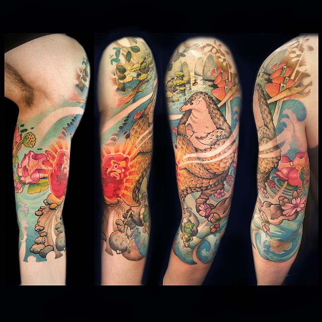 Japanese Armadillo Tattoo Sleeve