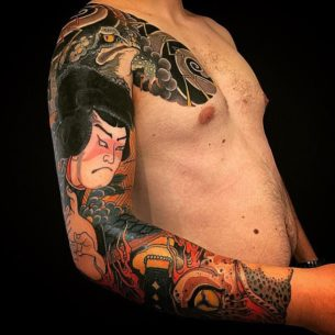 Japanese Chest and Tattoo Sleeve