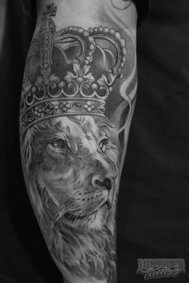 King Of Kings Lion Tattoo on Arm