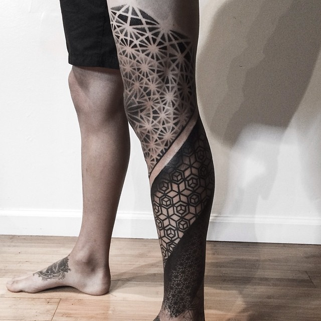 Knee Leg Graphic Geometry Tattoo