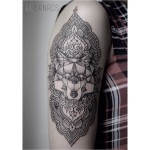 Line Dotwork Ornament Wolf Tattoo