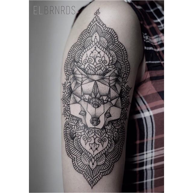 Line Dotwork Ornament Wolf Tattoo