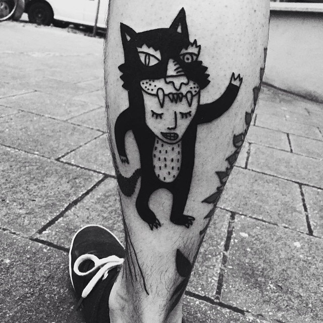 Man in Cat Skin Blackwork Tattoo on Leg