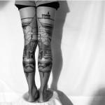 Matching Leg Sky Castle Tattoos