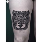 Mehendi Tiger Mask Tattoo on Thigh