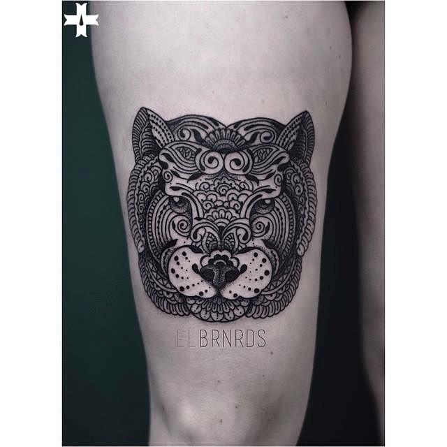 Mehendi Tiger Mask Tattoo on Thigh