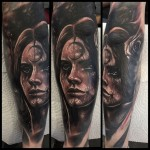 Moon Forehead Girl Tattoo