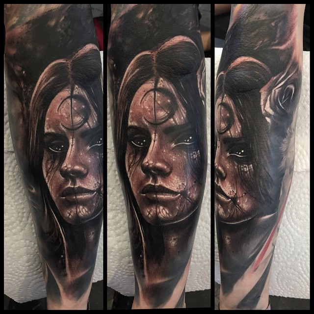 Moon Forehead Girl Tattoo