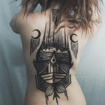Moon Witch Castle Tattoo on Back