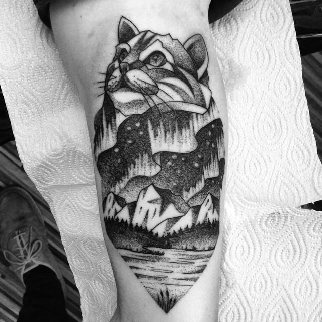 Mountain Cat Tattoo Landscape