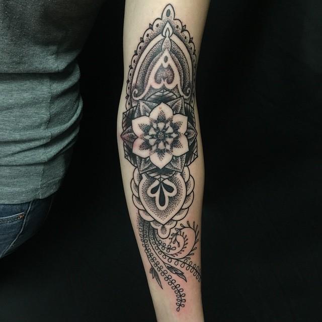 Nature Dotwork Arm Tattoo