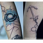 Needle and Thread Tattoos on Arm