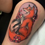 Neo Traditional Fox Tattoo on Thigh