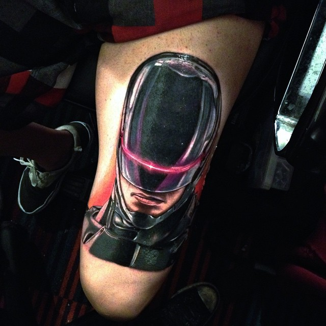 New Robocop Tattoo on Thigh