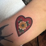 Old School Flower Heart Small tattoo