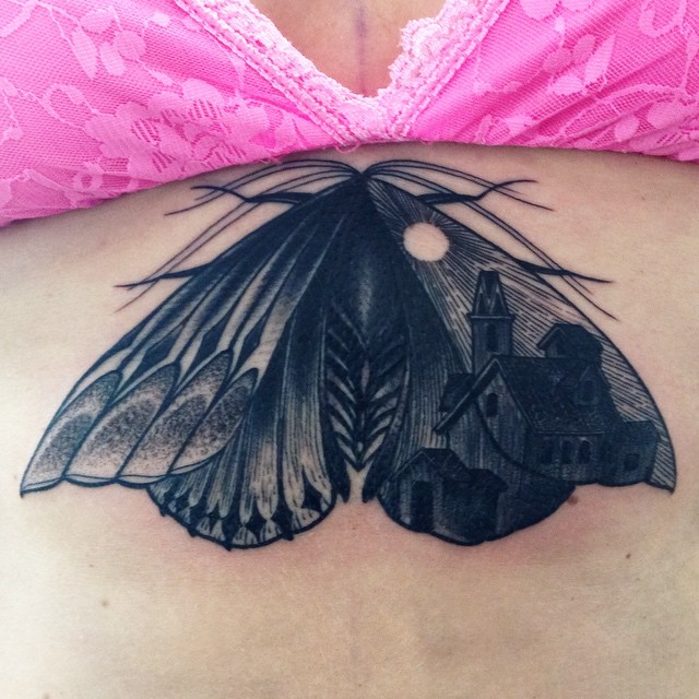 One Wing Town Moth tattoo