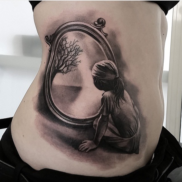 Other World Mirror tattoo on Stomach