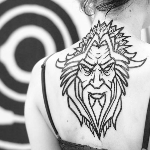 Pagan God tattoo on Back
